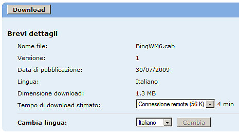 bing per windows mobile in italiano download nuova