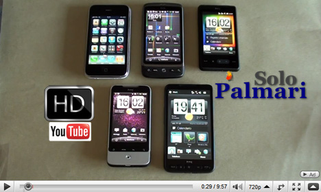 iPhone, HTC Desire, Legend, HD Mini, HD2 a confronto