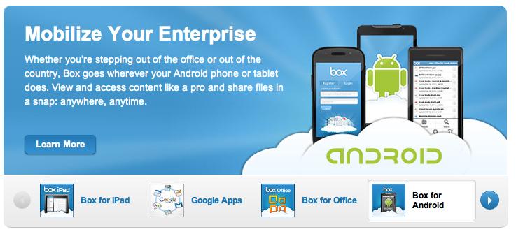 Applicazioni mobile per Box.com