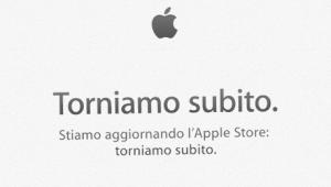 il cartello con torniamo subito sull'Apple store