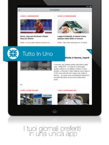 Schermata di Newscron iPad