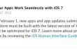 Screenshot della comunicazione di Apple su iOS 7