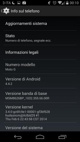 Schermata di Motorola G